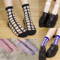 2 Pairs/lot Women Summer Novelty Transparent grid socks Glass Crystal Silk Cool Mesh Knit Sheer soks