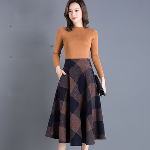 Image 4 - VANGULL Printed Plaid woolen Skirt 2019 Autumn new Plus Size High Waist Ball Gown Skirt Winter Casual Large swing Thick Skirts
