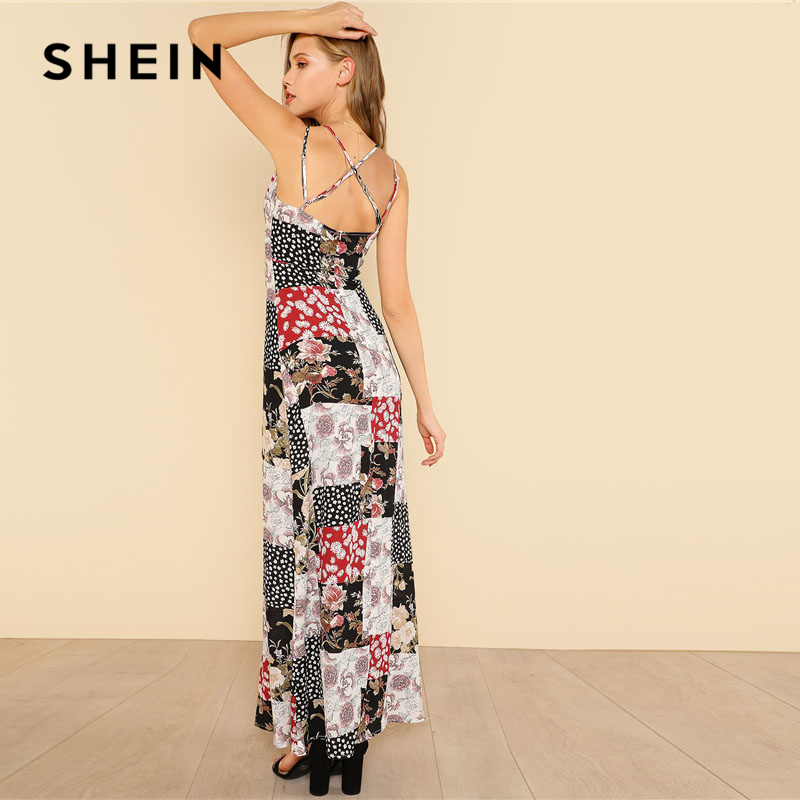 304b577986 SHEIN Crisscross Back Floral Patchwork Print Cami Dress Women V Neck,  Spaghetti Strap Sleeveless Maxi Dress 2018 Sexy Dress-in Dresses from  Women's Clothing ...