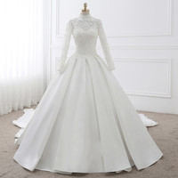 Backlakegirls Wedding Dress 2018 New Pattern Ancient Ways High Lead Sleeve Princess Bride Marry Satin Face Spain Tailing Court