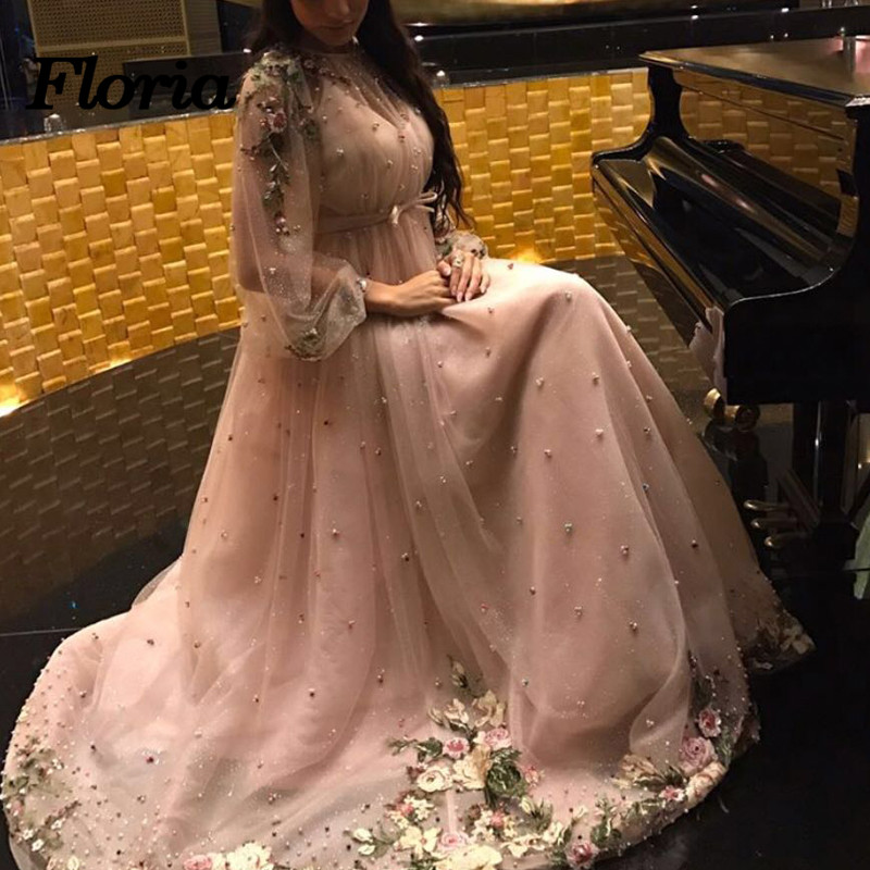 Spearkle Pink Evening Dresses 2018 Dubai Turkey Arabic Pearls Party Prom Dress For Weddings Moroccan Kaftan Robe de soiree