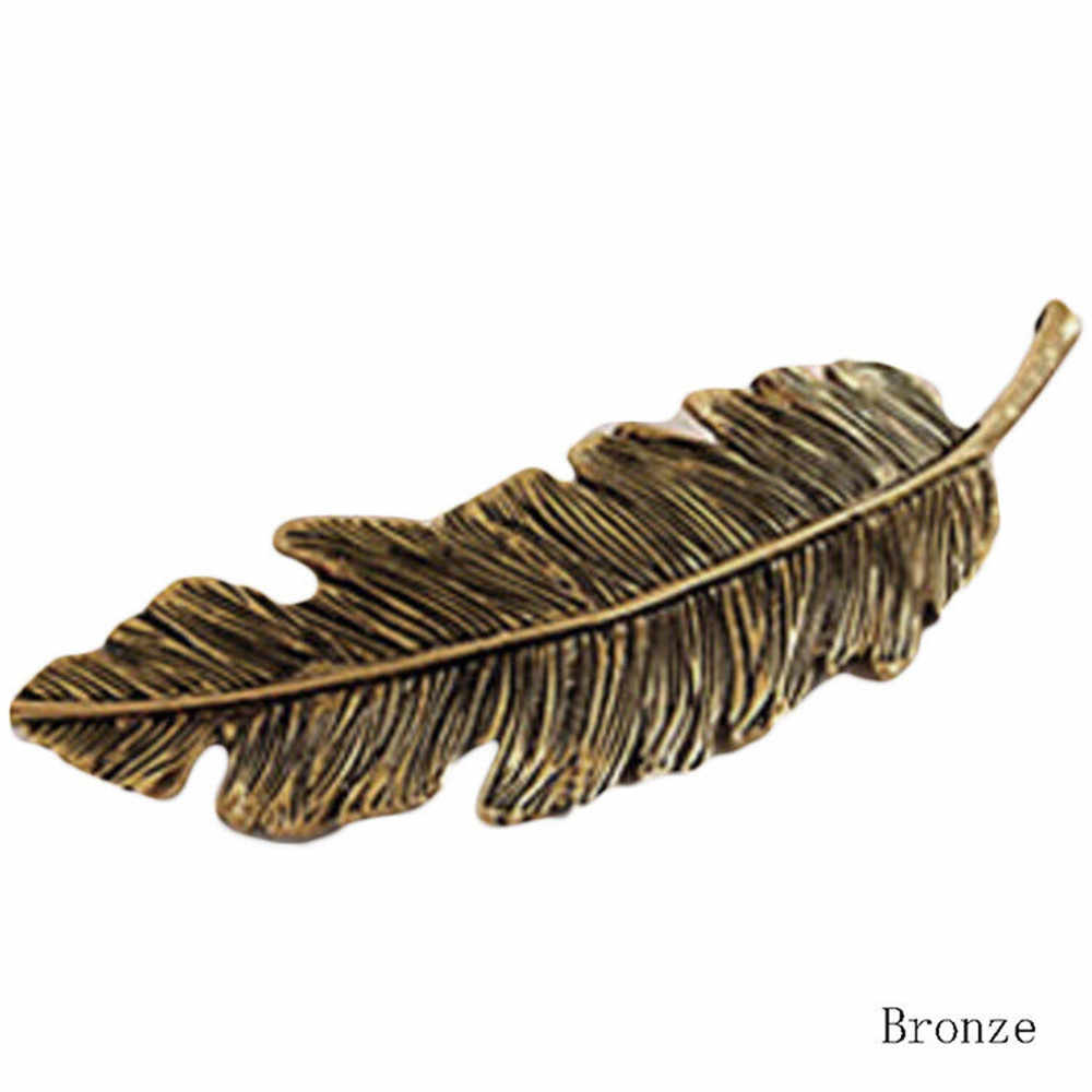 Metal Leaf Feather Hair Clip Girls Vintage Hairpin Princess Hair Barrette Accessories Hairpins For Women Styling Tools Wholesale