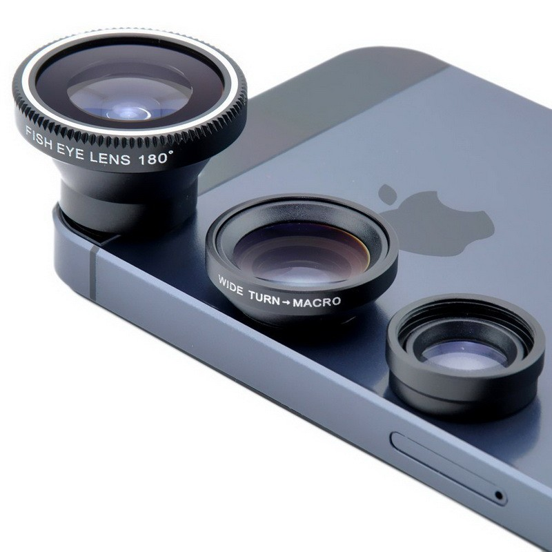 Universal Fish Eye 3in1 + Clip Fisheye Smartphone Camera Lens Wide Angle Macro Mobile Phone Lents blue as picture 3