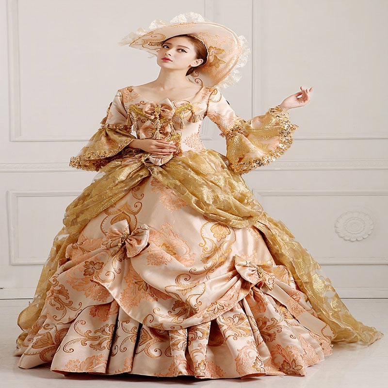Customized 2018 Long Flare Sleeve Masquerade Party Rococo Dress Medieval Champagne Marie Antoinette Ball Gowns For Women