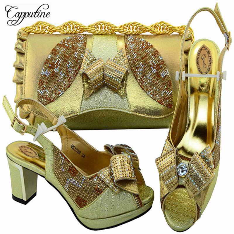 Capputine New Arrival Ladies Italian Gold Shoes And Bag Set Summer African High Heels Shoes With Matching Bag For Party M10594 capputine new arrival rhinestone slipper shoes and matching bag set africa style high heels shoes and bag set evening party