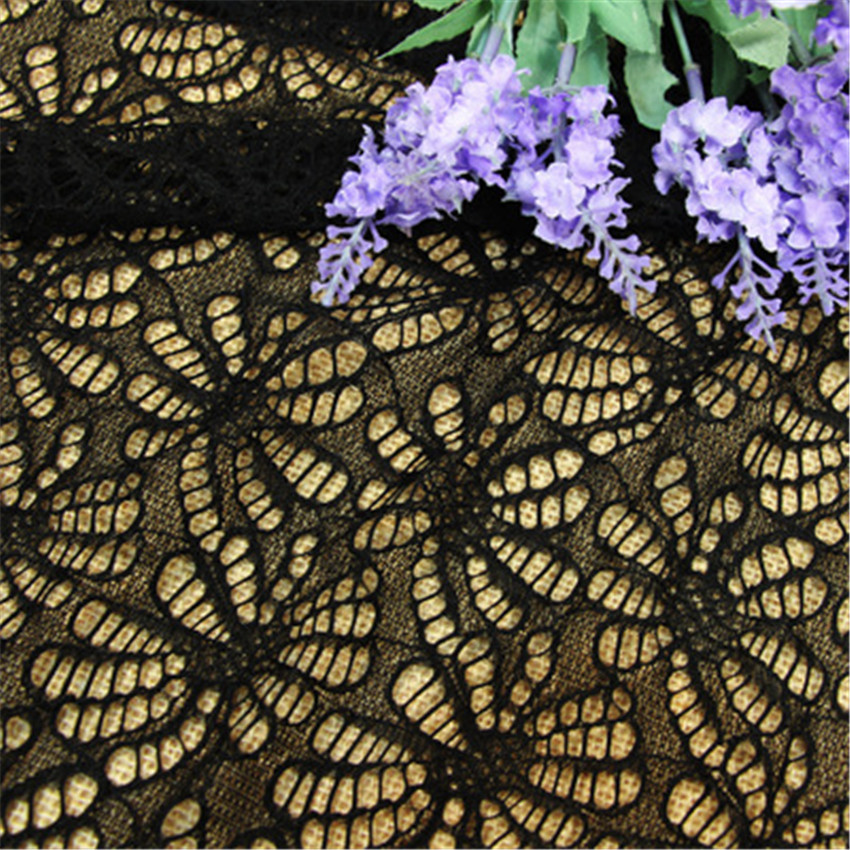 1 piece 100% black polyester Long petals lace embroidered French lace fabric suitable for sewing crafts image