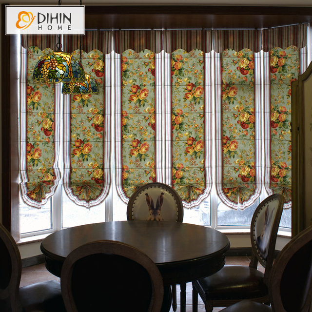 Included Curtains New Arrival Pastoral Floral Printed 100 Cotton Fabric Roman Shade Blinds The Finished