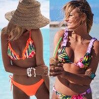 2019 новый бикини со складками женский купальник Бандаж пуш-ап бикини набор пляжный купальный костюм Бразильский бикини с принтом A1106