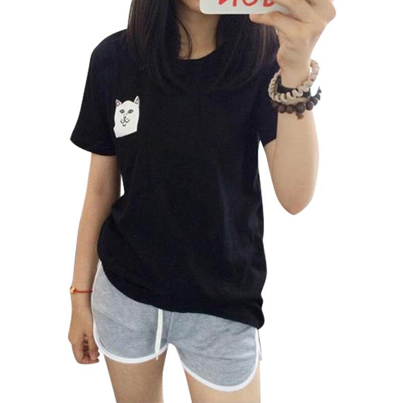 Femmes T-shirt 2015 D'été Style T-shirt Imprimer Moyen Doigt poche Chat Harajuku O-cou À Manches Courtes En Coton Couple Tee Plus taille