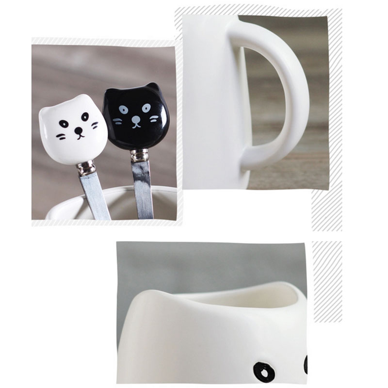 Creative Black And White Cup Cute Cat Coffee Mugs Ceramic Cups With