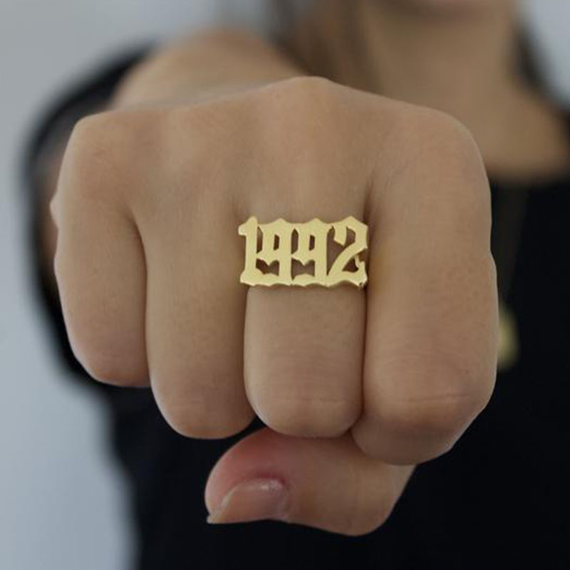 Number-Rings Wedding-Jewelry English 1996 1995 Personalized Women 1997 1992 for 1990/1991/1992/..
