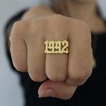 Anel de número inglês, minimalismo anéis para mulheres jóias de casamento de aço inoxidável empilhável ano melhor amigo presentes