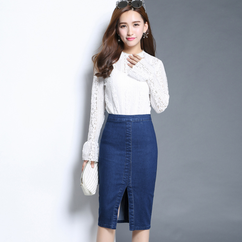 Aliexpress.com : Buy Front Split Denim Skirt Women Plus Size 2XL ...