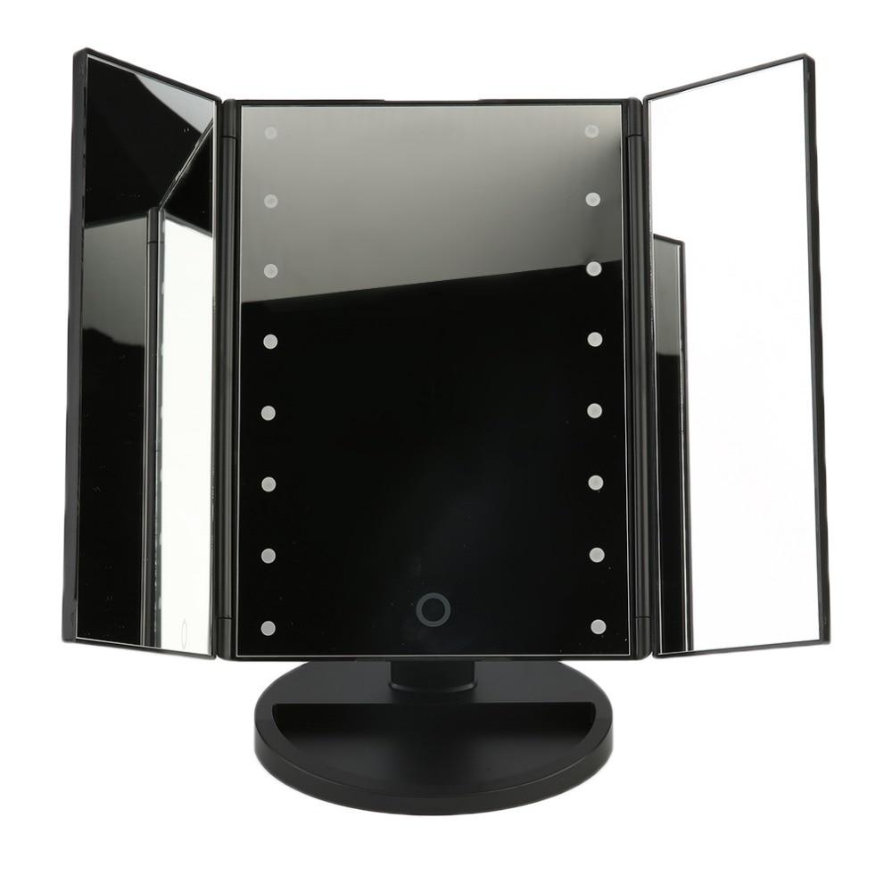 Portable Three Folding Table LED Lamp Luminous Makeup Mirror Cosmetic Mirror Adjustable Tabletop Countertop Light Mirror