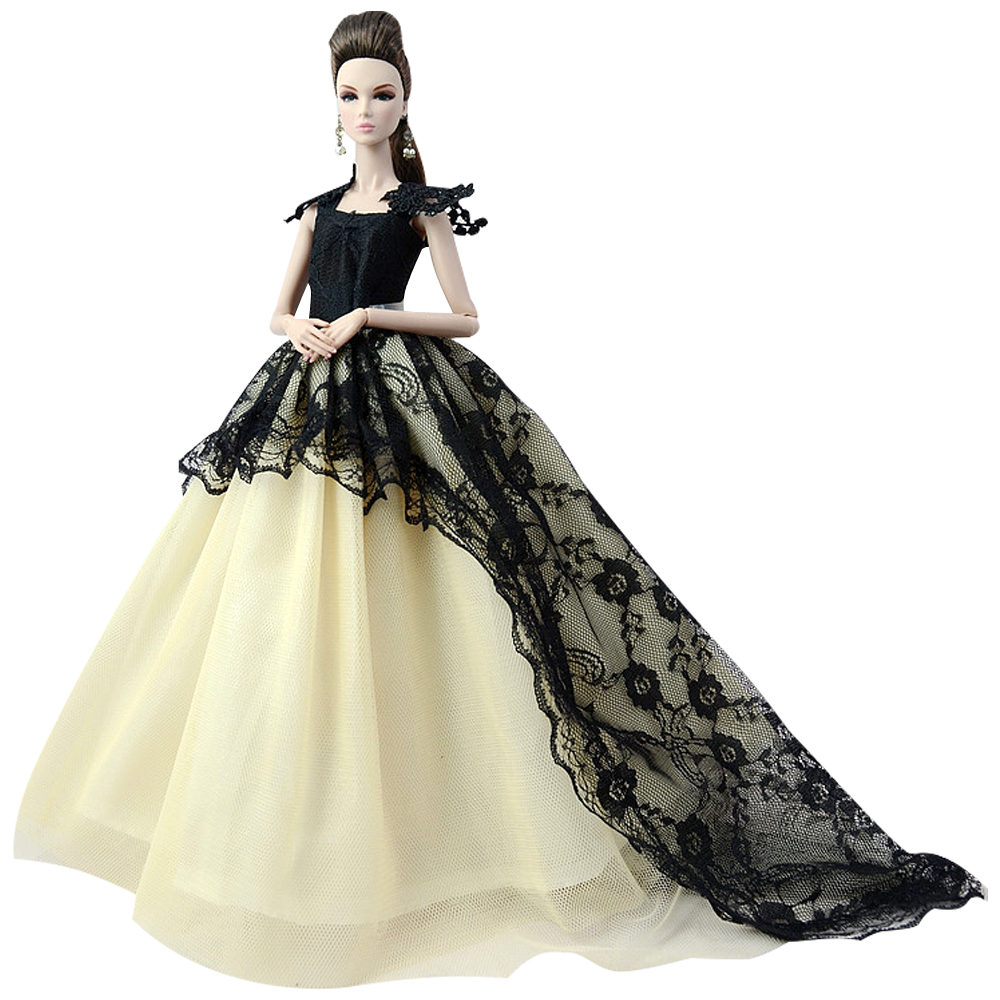 NK One Pcs Handmade Princess Wedding Dress Noble Party Gown For Barbie Doll Fashion Design Outfit Best Gift For Girl' Doll JJ image