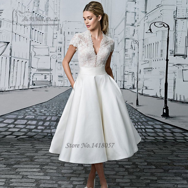 Vintage Short Wedding Dress Lace China Cheap Bride Dresses 2017 Vestido de  Noiva Curto Cap Sleeve Tea Length Wedding Gowns Satin 756c26efc99d