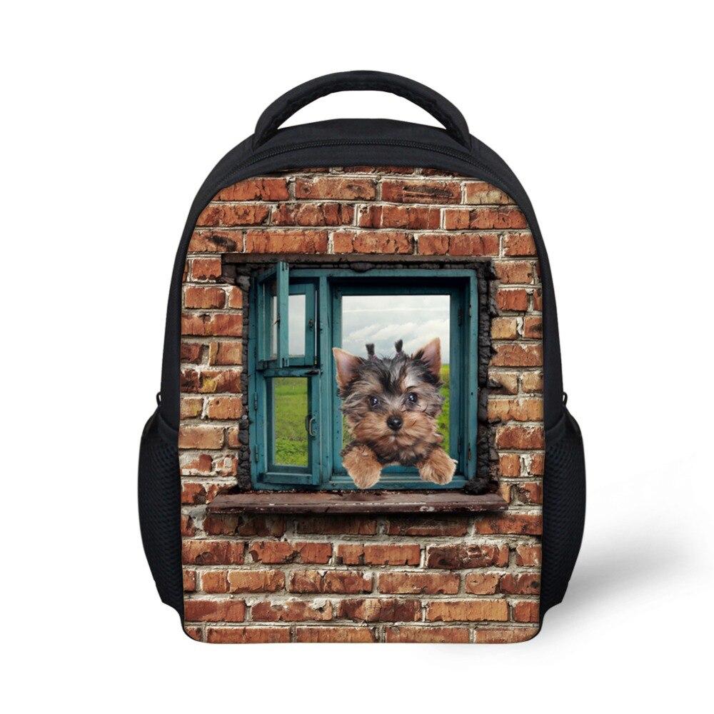 Vintage Animal Cute Cat Dog backpack Printed Children School Backpacks For Kindergarten Baby Girls Kids Bagpack Rucksack Mochila
