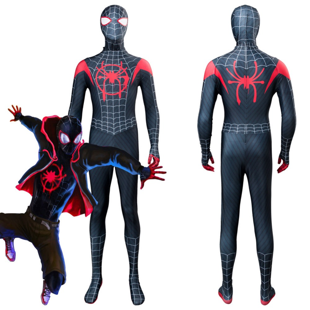 Spider-Man: Into the Spider-Verse Spider Boy Miles Morales Cosplay Costume Jumpsuit Outfit Halloween Carnival Cosplay Costumes