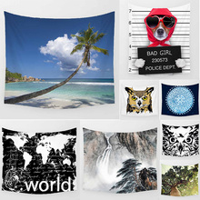 Hot sale tropical sea landscape  world map funny animal big trees pattern wall hanging tapestry home decoration wall tapestry