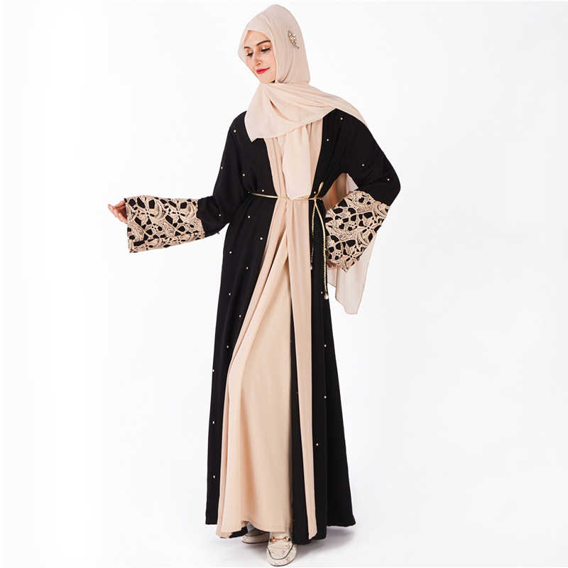 בתוספת גודל חלוק מלזיה העבאיה דובאי קפטן נשים פרל תחרה קימונו קרדיגן מוסלמי חיג 'אב שמלת קפטן בגדים אסלאמיים תורכי