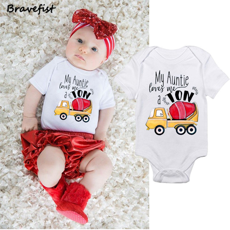 Fashion Newborn Baby Bodysuit Short Sleeve Baby Boy Girl Clothes Tiny Cotton Baby Onesie 0-24M My Auntie Loves Me Kids Jumpsuits