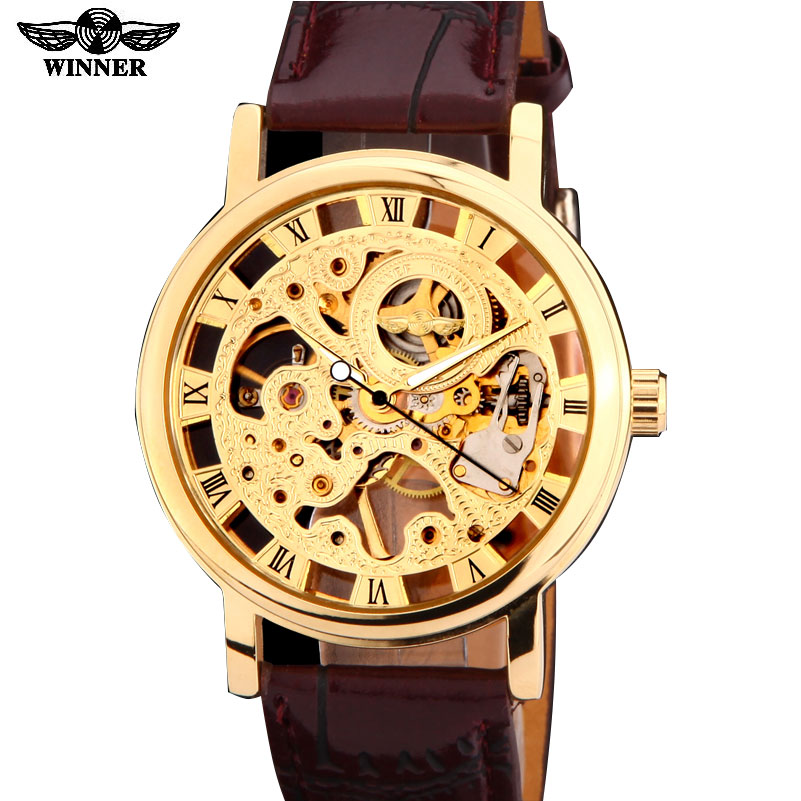 2016 winner brand silver gold  tone Skeleton Hand wind  Mechanical Mens men watch  brown black artificial leather band thin case ks black skeleton gun tone roman hollow mechanical pocket watch men vintage hand wind clock fobs watches long chain gift ksp069