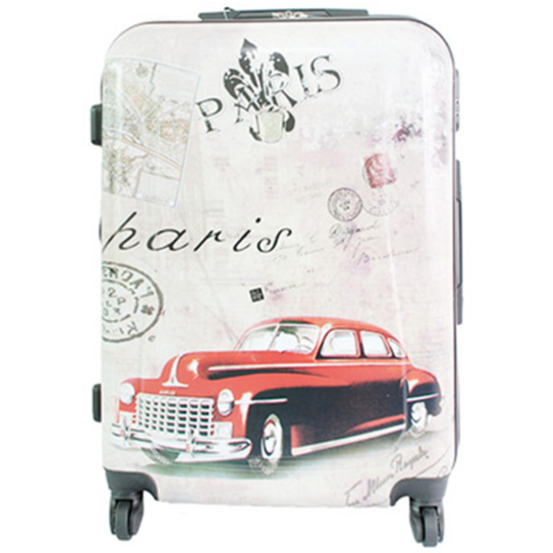 KUNDUI 20 24 28 inch classic Color pictures Trolley suitcase luggagebag Pull Rod trunk traveller case