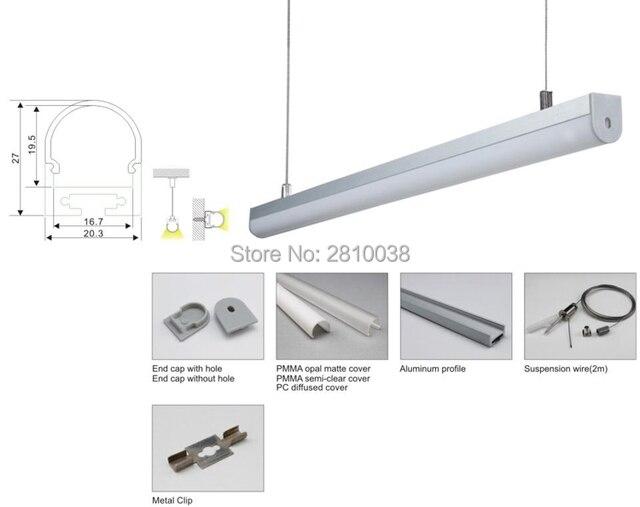 10X1 м наборы/лот анодированный серебряного цвета U профиль alu профиль и экструдированный алюминиевый светодиодный контур для подвески или по...
