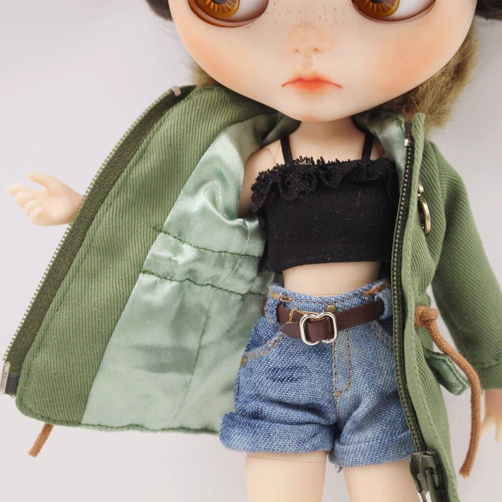 Neo Blythe Doll Denim Shorts Black Lace Bra With Green Army Jacket 8