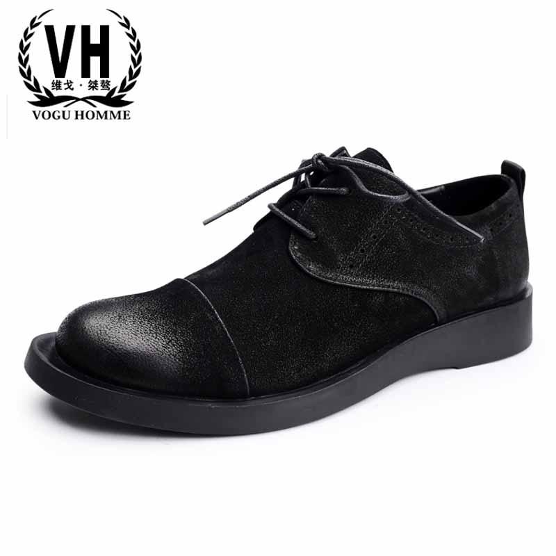Men's shoes fashion Genuine Leather casual shoes men Black Retro British retro all-match cowhide spring autumn summer breathable цена