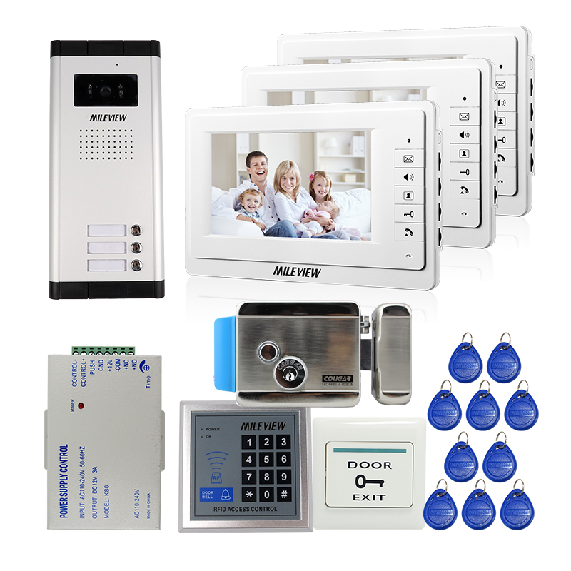 FREE SHIPPING 7 Video Intercom Apartment Door Phone + 3 Monitors + Outdoor Camera for 3 Family + RFID Access System + E-lock free shipping new 7 video door phone intercom system 2 white monitors 1 outdoor bell camera for 2 household apartment family