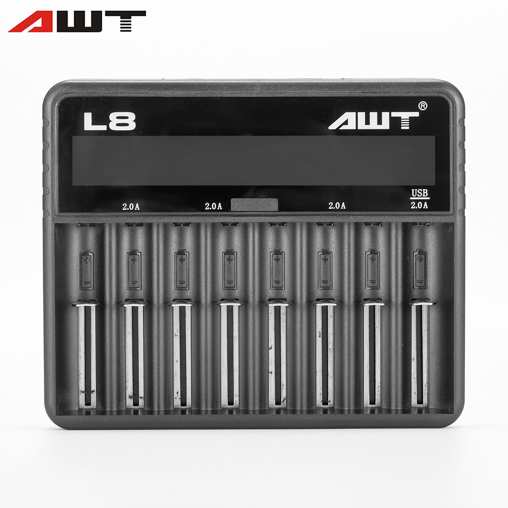 AWT L8-2A 18650 Battery Charger with 2A Adaptor Smart Charger 8 Slots for Battery 26650 18350 14500 18500 22650 T040 liitokala lii 500 lcd 3 7v 1 2v 18500 26650 16340 14500 10440 18650 battery charger 4pcs for panasonic 18650 3400mah battery