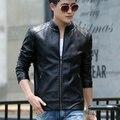 Весной и Осенью slim с коротким дизайн Кожаная куртка мотоцикла стоять воротник мужской кожаный плащ мужской оон манто де cuir