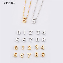 WFSVER number 0-9 pendant necklace for women stainless steel chain custon gold silver color fashion DIY jewelry gift
