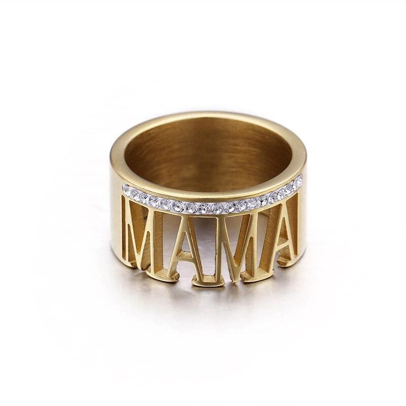 Mama Crystal Charm Finger Vintage Letter Ring