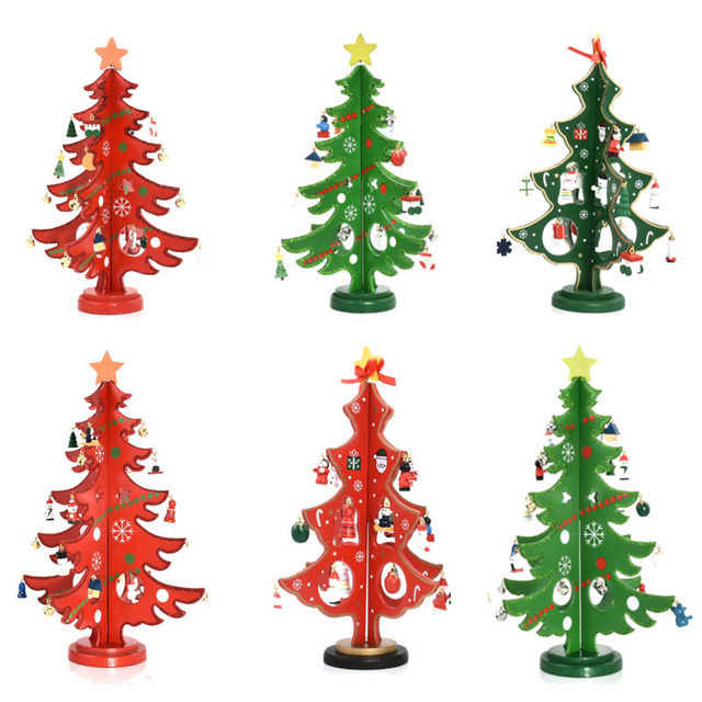 Us 9 19 48 Off 3 Size 3d Diy Party Shop Bar Display Table Decoration Wooden Christmas Tree With Ornament Happy New Year Kids Christmas Gift In