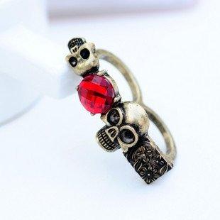 Min.order is $15( mix order ) #1468 SBB Korean jewelry wholesale rings new retro Ruby skull ring fancy girl