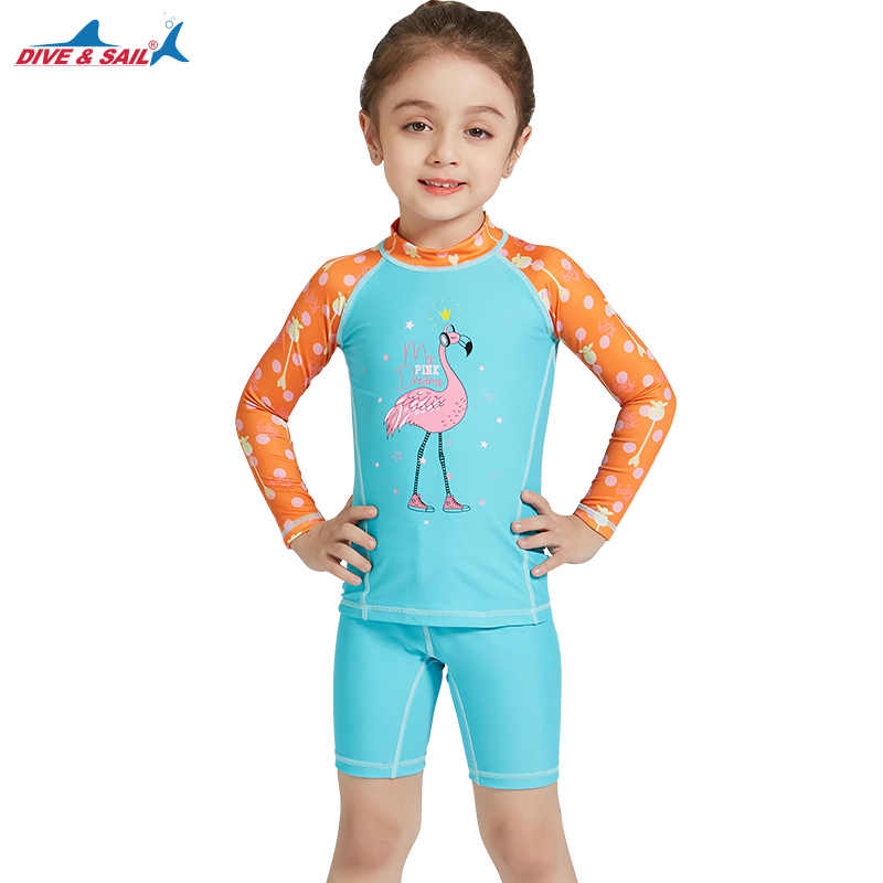 afd009443b6 ... Girls Two Piece Quick-dry Diving Suit UPF 50+ UV Long Sleeve Swimwear  Kids ...