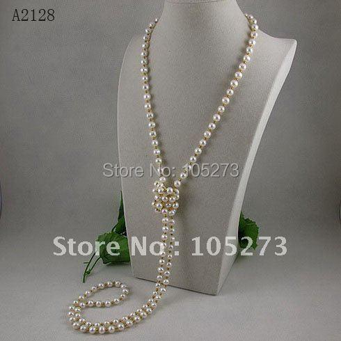 En gros AA 7-8MM Blanc collier de perles d'eau douce GP 3mmGold perles 55 pouces longue perle collier livraison gratuite offre spéciale A2128