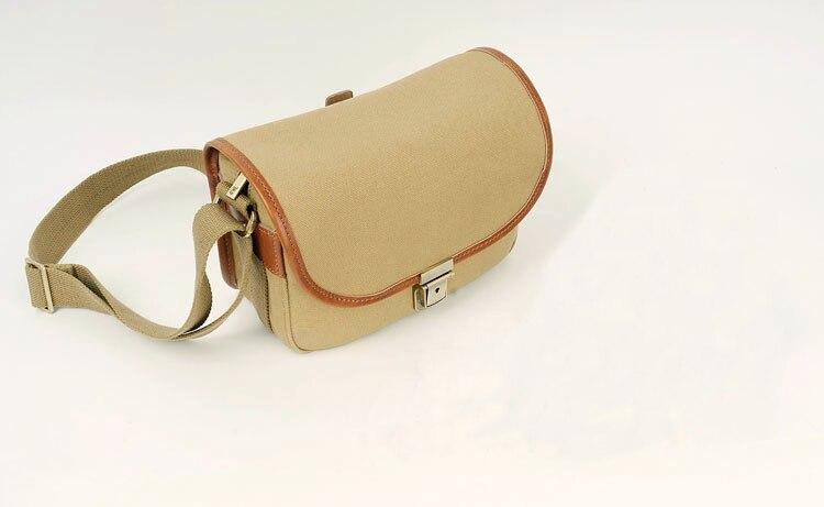 ФОТО Portable Khaki Canvas Handbags Shoulder Bag Case Waterproof Camera Shoulder Messenger Bag+Paitition Padded For Outdoor Travel