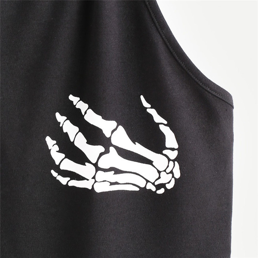 Newly Design Skull Print Halter Camis Women Girls Summer Black Crop Top Sleeveless Woman Blouse Cropped Shirt 80403
