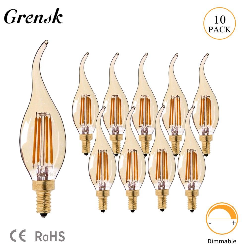 Grensk 4 w pode ser escurecido led filamento vela bulbo 2200 k e14 base chama forma curva ponta 25 w incandescente equivalente c35
