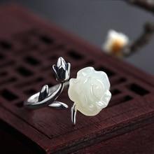 Sterling Silver Nephrite Stone Flower Open Ring 925 Silver Finger Ring Gift for Women Free Shipping