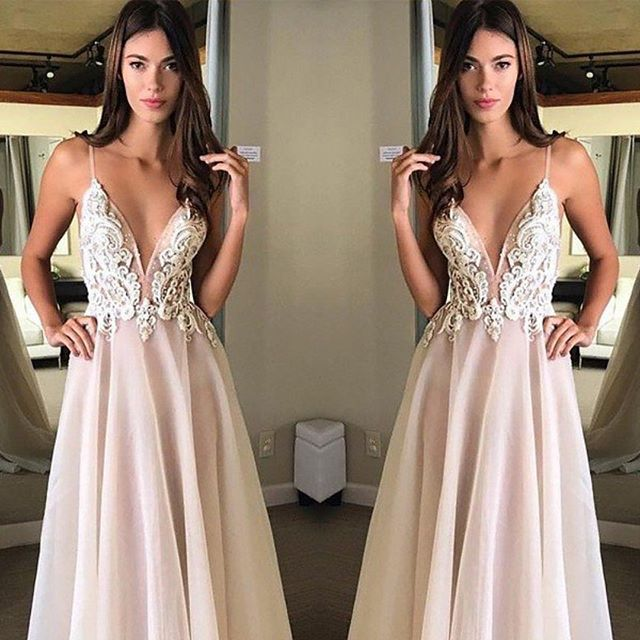 Fashion New Long Evening   Dresses   2020 V-Neck Spaghetti Strap Floor Length Appliques Chiffon Sexy   Prom     Dresses   vestidos