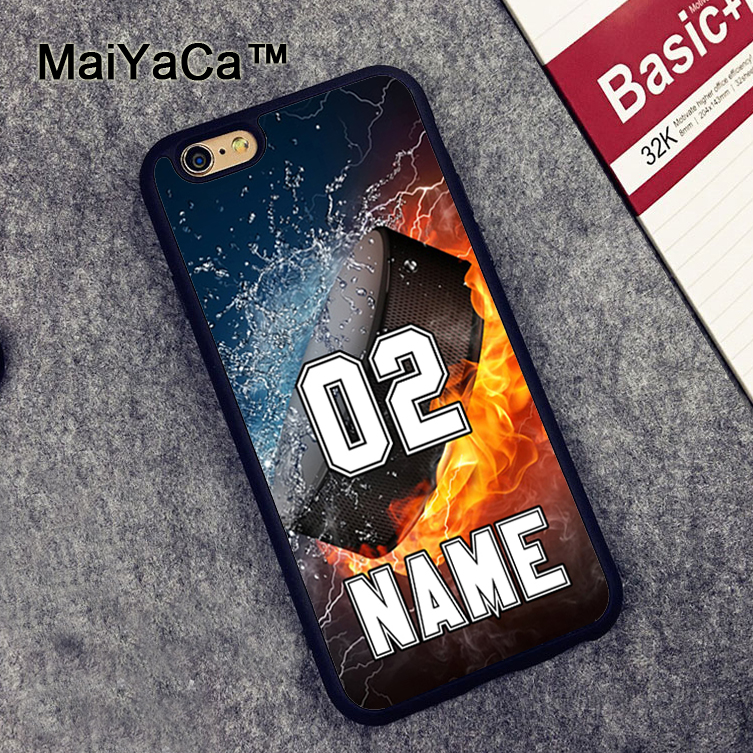 MaiYaCa PERSONALIZED NUMBER NAME Hockey Rubber Mobile Phone Cases Accessories Fo