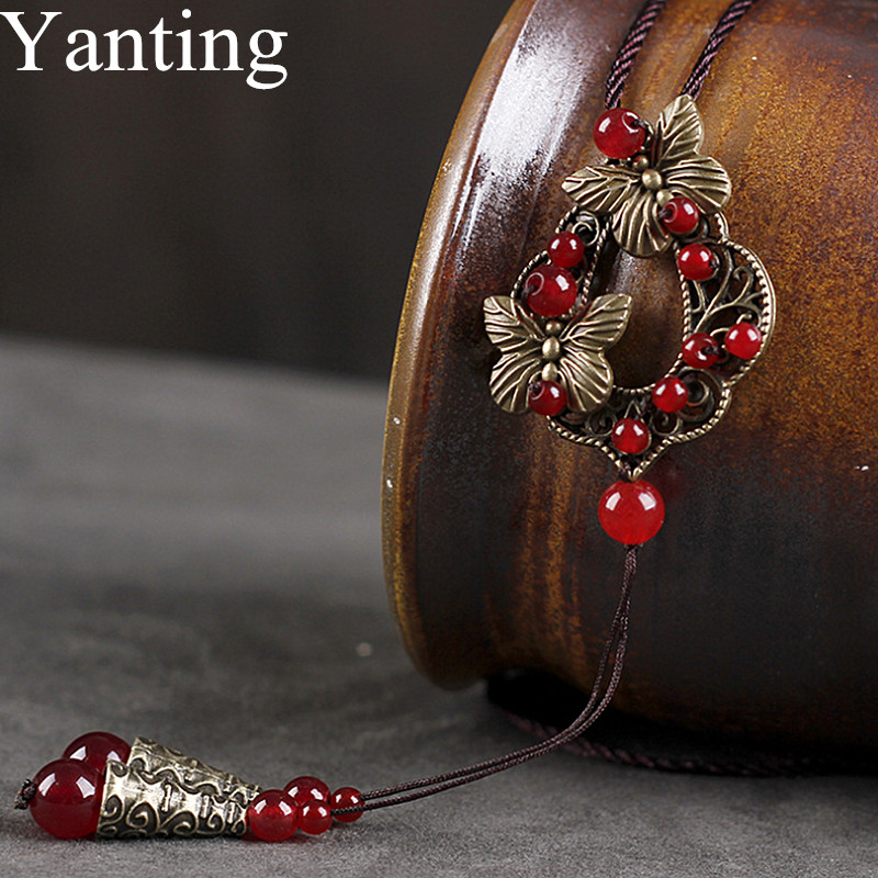 Yanting Vintage Bronze Alloy Flower Pendant Necklace For Women Red Chalcedony Stone Pendant Necklace Sweater Chain 087