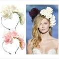 Ручной ткани цветок повязка на голову девушка мода вырос Hairband свадебный головной убор цветочные свадебный венец повязка на голову венок 5 цвета