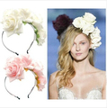Handmade Fabric Flower Hair Headband Girl Fashion Rose Hairband Wedding Headpiece Floral Bridal Crown headband Wreath 5 colors