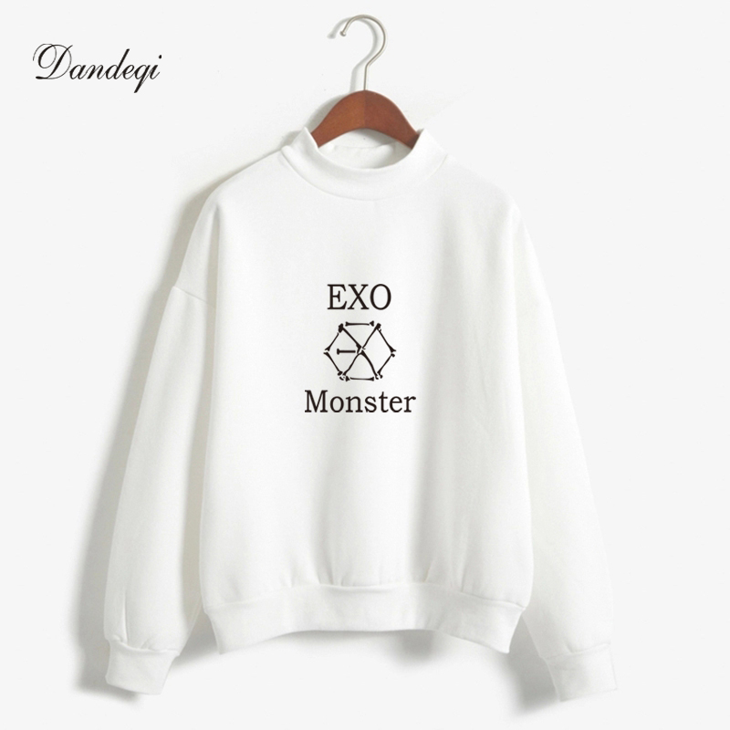 Kpop Exo Hoodies Women Harajuku Fleece Long Sleeve Pullover Sweatshirts Hip Hop Hoodie Harajuku Pastel Colors Tracksuit