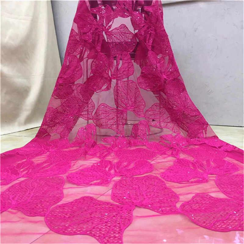 Orange roze (5 yards/pc) hoge kwaliteit Afrikaanse party kant stof laser cut geborduurde kant farbc met pailletten en kralen voor party